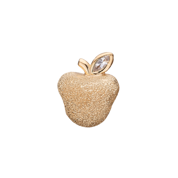 Petite Sparkling Apple Bead Charm Gold with Gemstones