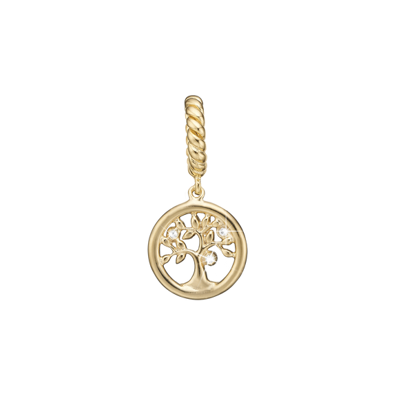 Topaz Tree of Life Hanging Charm Gold with Gemstones