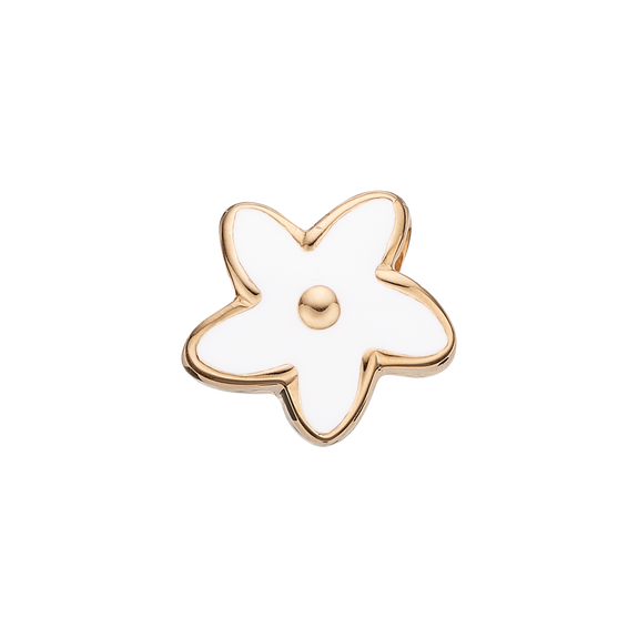 Flower Heaven Bead Charm Gold and White
