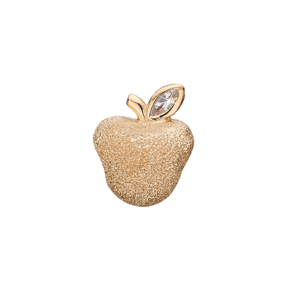 Sparkling Apple Bead Charm Gold with Gemstones