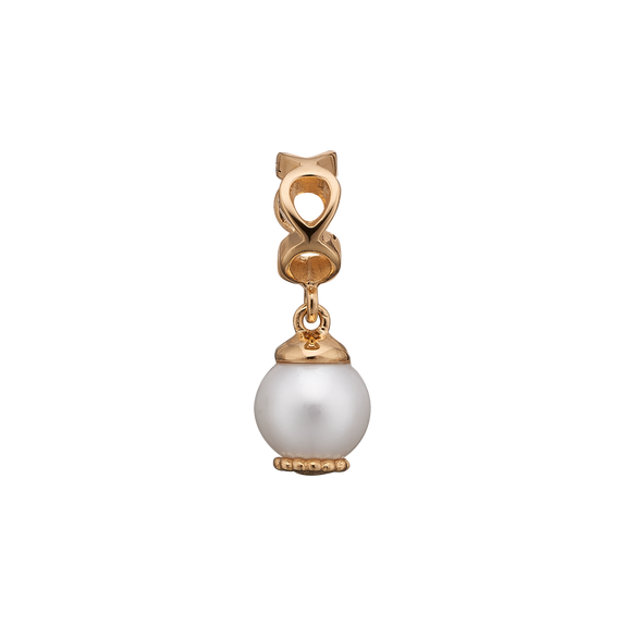 Moving Pearl Hanging Charm Gold with Gemstones