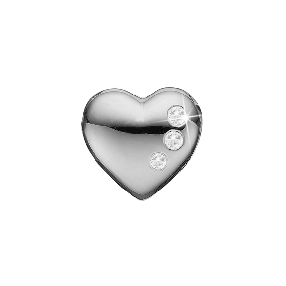 Secret Hearts Bead Charm Silver with Gemstones