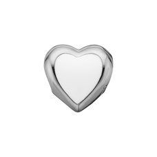 Load image into Gallery viewer, Big Enamel Heart Bead Charm Silver and White