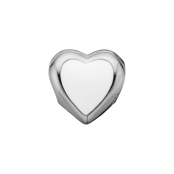 Big Enamel Heart Bead Charm Silver and White