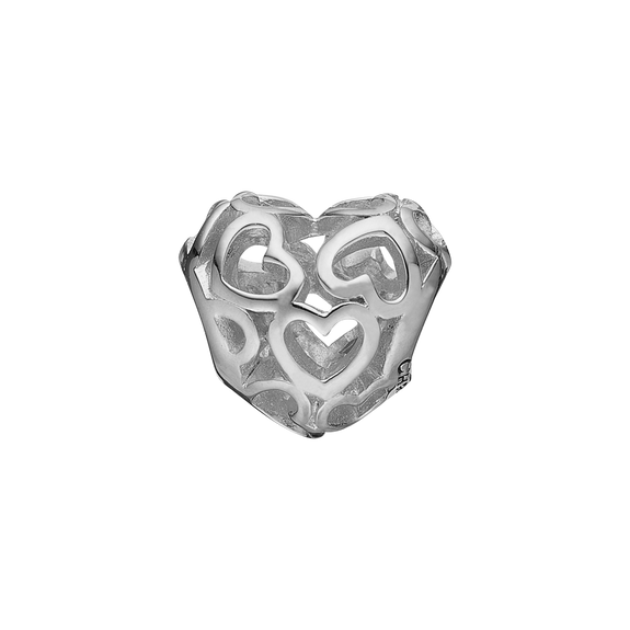 Petite Heart Beat Love Bead Charm Silver