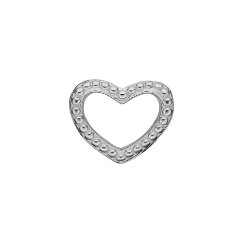 Petite Heart Dots Bead Charm Silver