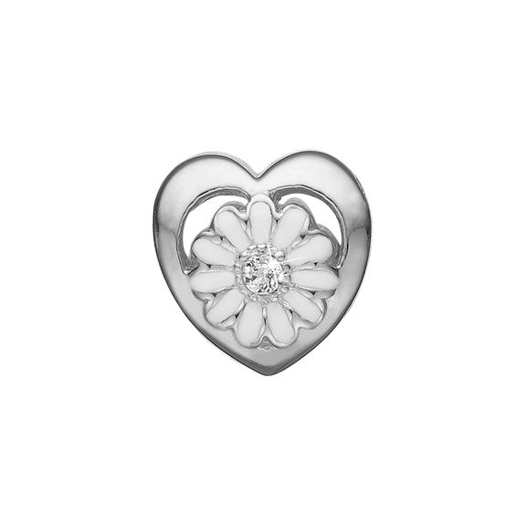 Marguerite LG Diamond Bead Charm Silver and White with Gemstones