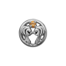 Load image into Gallery viewer, Zodiac Gemini Bead Charm Silver with Gemstones