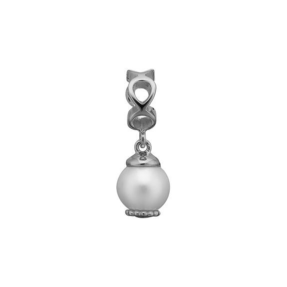 Moving Pearl Hanging Charm Silver with Gemstones