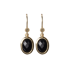 Load image into Gallery viewer, Onyx Dream Hanging Earrings Gold with Gemstones