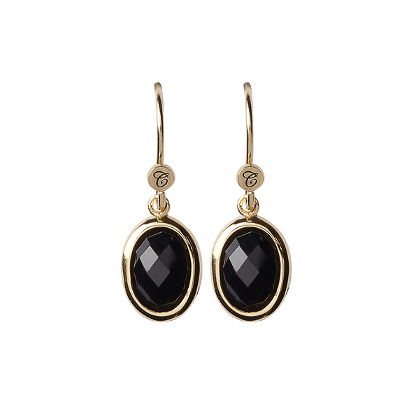 Onyx Dream Hanging Earrings Gold with Gemstones