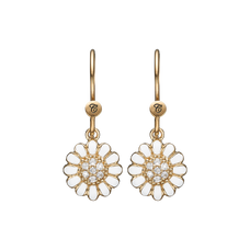 Load image into Gallery viewer, White Marguerite Hanging Earrings Gold and White with Gemstones