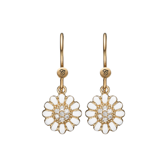 White Marguerite Hanging Earrings Gold and White with Gemstones