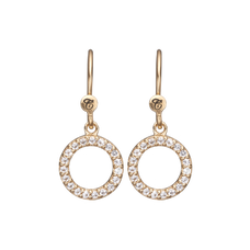 Load image into Gallery viewer, Hanging Circle Hanging Earrings Gold with Gemstones