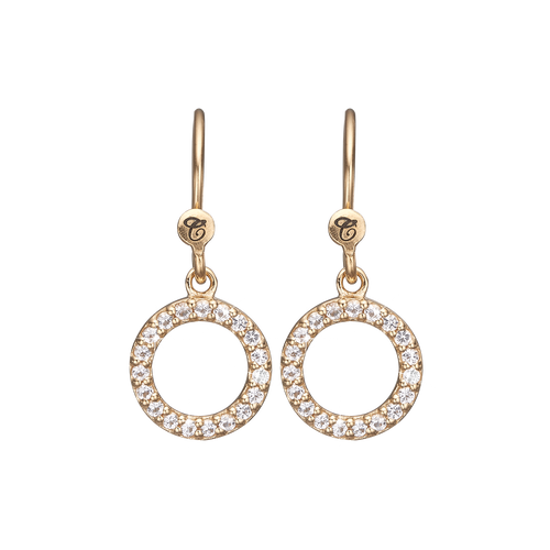 Hanging Circle Hanging Earrings Gold with Gemstones