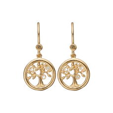 Load image into Gallery viewer, Tree of Life Hanging Earrings Gold with Gemstones