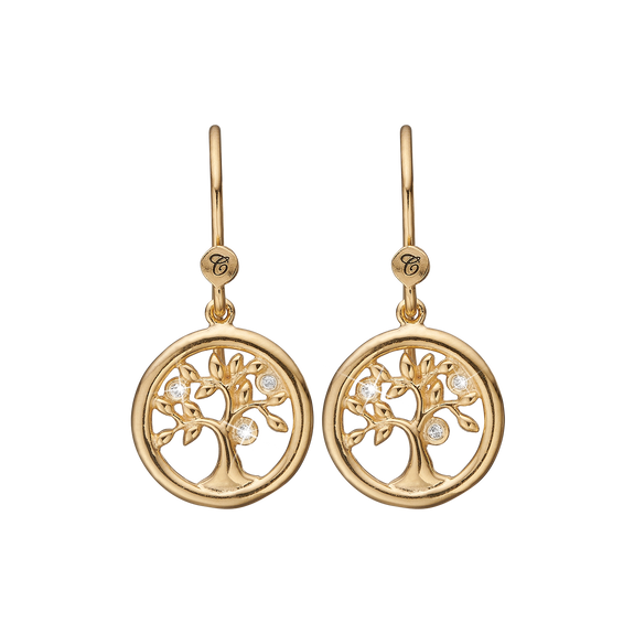 Tree of Life Hanging Earrings Gold with Gemstones