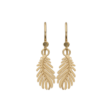 Load image into Gallery viewer, Pine Leaf Hanging Earrings Gold