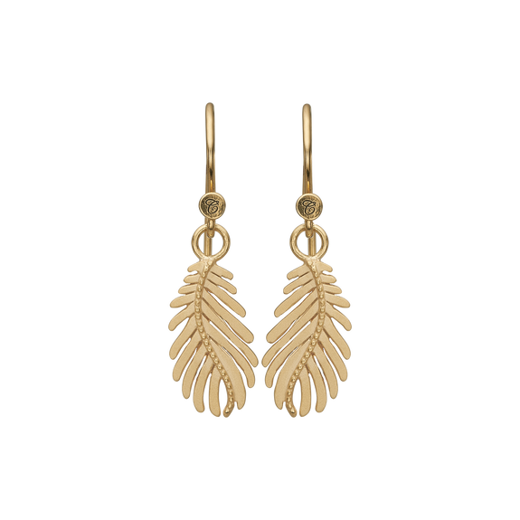 Pine Leaf Hanging Earrings Gold