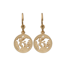 Load image into Gallery viewer, The World Hanging Earrings Gold with Gemstones