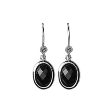 Load image into Gallery viewer, Onyx Dream Hanging Earrings Silver with Gemstones