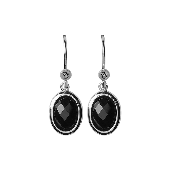 Onyx Dream Hanging Earrings Silver with Gemstones
