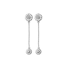 Load image into Gallery viewer, Flying Marguerites Hanging Earrings Silver