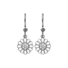 Load image into Gallery viewer, White Marguerite Hanging Earrings Silver and White with Gemstones