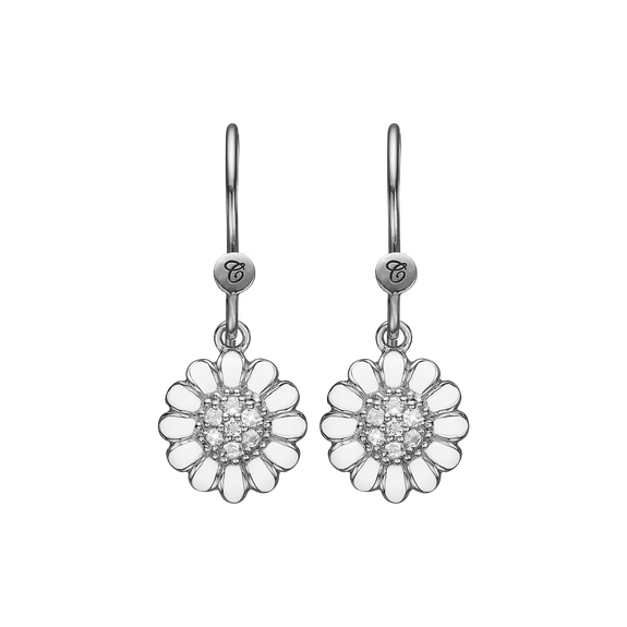 White Marguerite Hanging Earrings Silver and White with Gemstones
