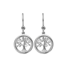 Load image into Gallery viewer, Tree of Life Hanging Earrings Silver with Gemstones