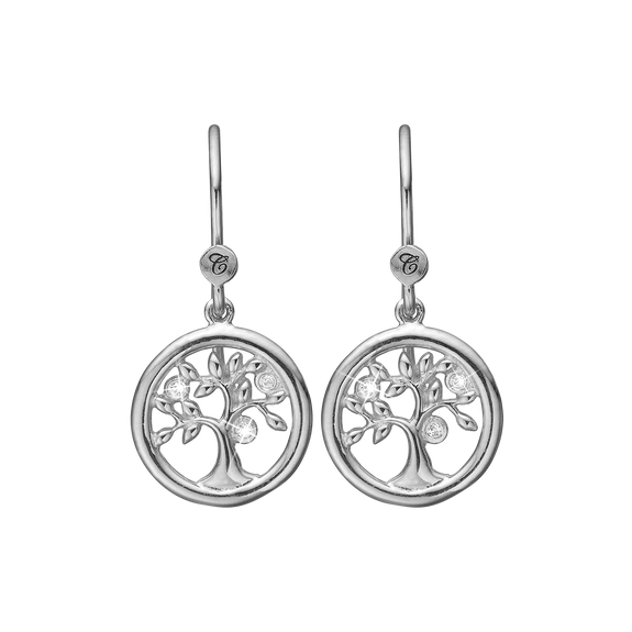 Tree of Life Hanging Earrings Silver with Gemstones