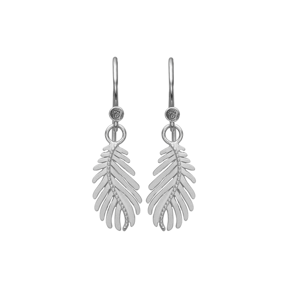 Pine Leaf Hanging Earrings Silver