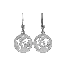 Load image into Gallery viewer, The World Hanging Earrings Silver with Gemstones