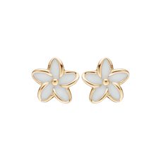 Load image into Gallery viewer, Flowers Studs Gold and White