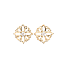 Load image into Gallery viewer, Natural Flower Studs Gold with Gemstones