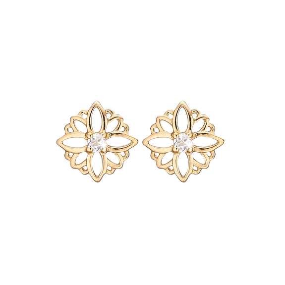 Natural Flower Studs Gold with Gemstones