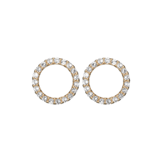 Load image into Gallery viewer, Dazzling Circles Studs Gold with Gemstones
