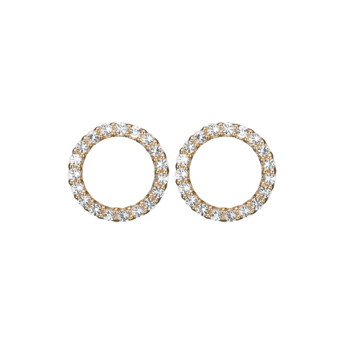 Dazzling Circles Studs Gold with Gemstones