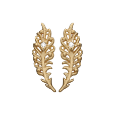 Load image into Gallery viewer, Dancing Feathers Studs Gold with Gemstones
