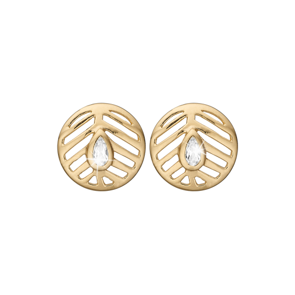 Open Leaf Studs Gold with Gemstones