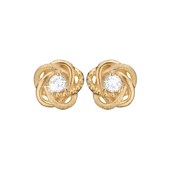 Knot Studs Gold with Gemstones