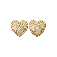 Load image into Gallery viewer, Sunshine Heart Studs Gold with Gemstones