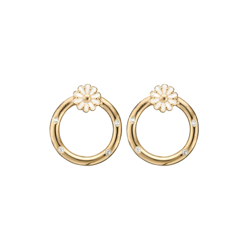 Marguerites Circle Studs Gold with Gemstones