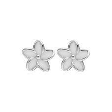 Load image into Gallery viewer, Flowers Studs Silver and White
