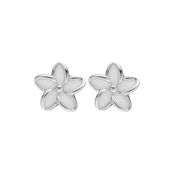 Flowers Studs Silver and White