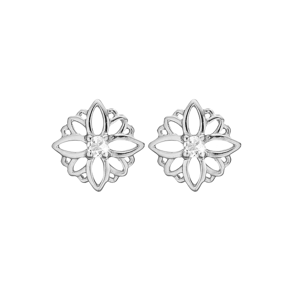 Natural Flower Studs Silver with Gemstones