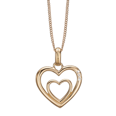 Load image into Gallery viewer, Two Open Hearts Necklace Gold with Gemstones