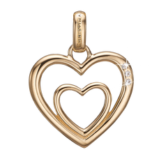 Load image into Gallery viewer, Two Open Hearts Pendant Gold with Gemstones