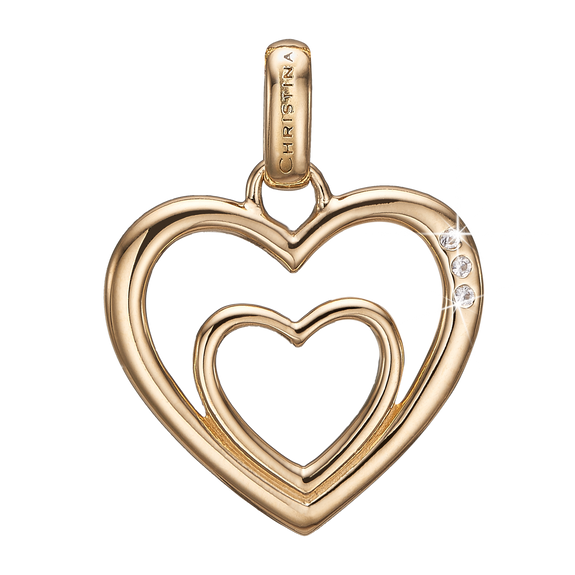 Two Open Hearts Pendant Gold with Gemstones