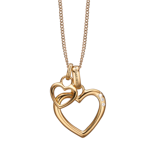 Open Mother Hearts Necklace Gold with Gemstones